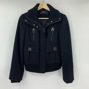 Zara Wool Coat Jacket Military Black Moto Size S